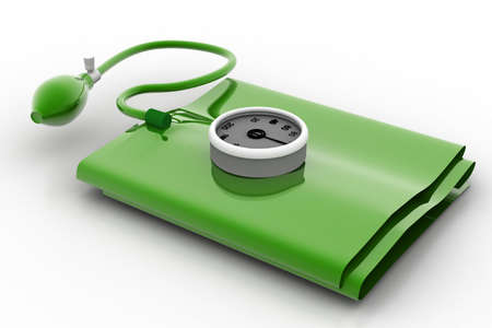 systolic: 3d rendering of green sphygmomanometer in white background
