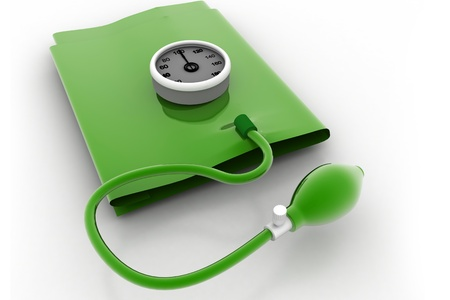 sphygmomanometer: 3d rendering of green sphygmomanometer in white background