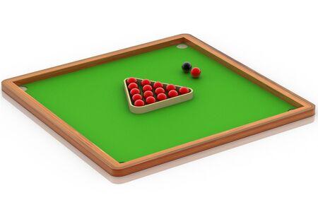 Digital illustration of Snooker ball table in white background  illustration