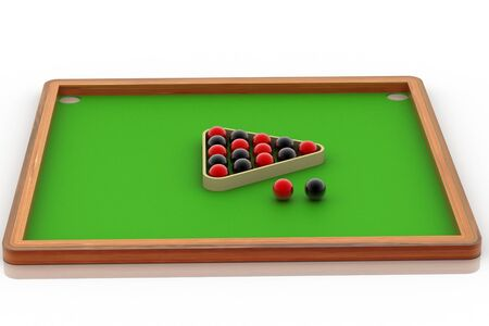 pocket billiards: Digital illustration of Snooker ball table in white background Stock Photo