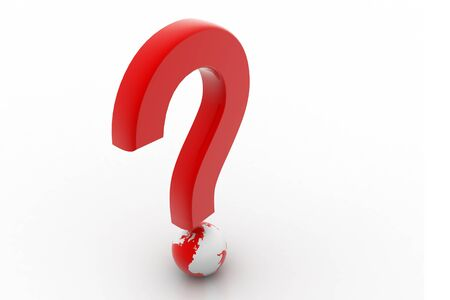 Red question symbol and globe in white background Stock Photo - 8507507