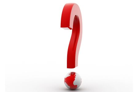 Red question symbol and globe in white background Stock Photo - 8507466