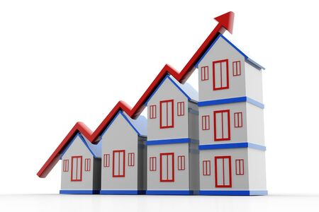 Highly rendering of house and increasing arrow in white background photo