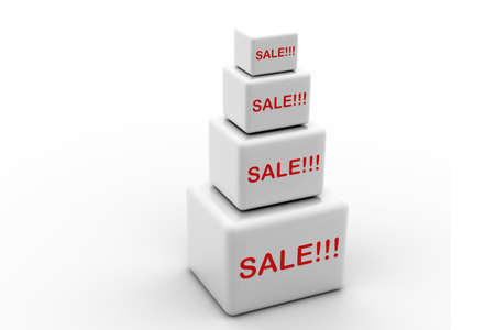 markdown: Highly rendering of sale cube  in white background  Stock Photo