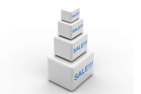 violate: Highly rendering of sale cube  in white background  Stock Photo