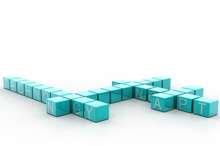3d illustration of innovation related words on cubes in white background  illustration