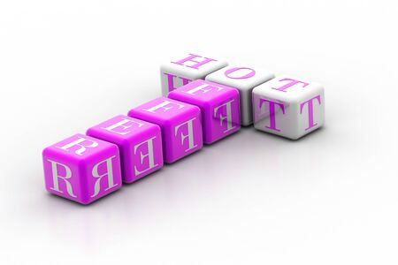 violate: 3d violate cubes with white letters like crossword with text hot offer Stock Photo