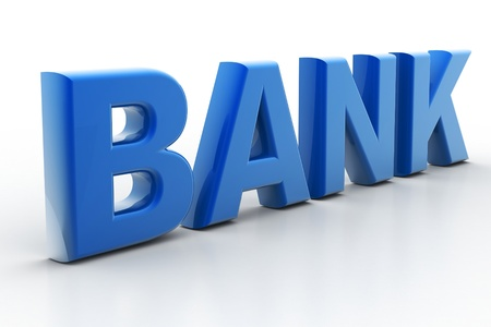 carved letters: 3d rendering of bank litter in white background