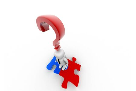 3d person and question mark in white background Stock Photo - 8514272