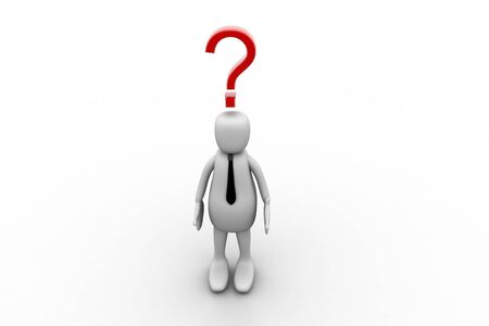 3d person and question mark in white background Stock Photo - 8514792