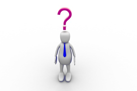 3d person and question mark in white background Stock Photo - 8514861