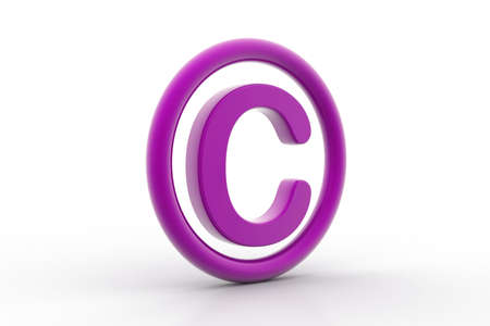 violate: 3d rendering of copyright symbol in white background