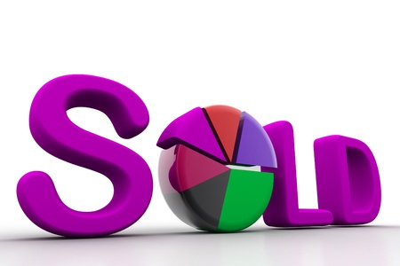 Sold concept of pie chart photo