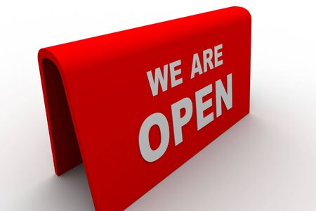 we are open sign in white background Stock Photo - 8517724