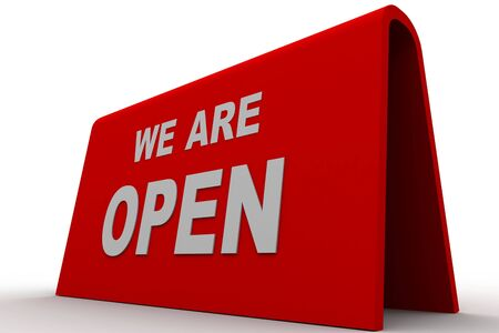 we are open sign in white background Stock Photo - 8519327