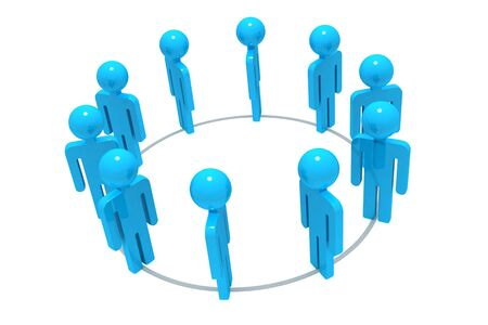 common target: Group of 3D people working towards a common target