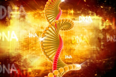 dna chain: Digital illustration of DNA in abstract background  Stock Photo