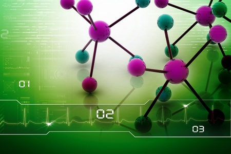 Digital illustration of molecules in abstract background  illustration