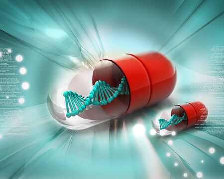 red pill: Dna in pill  Stock Photo