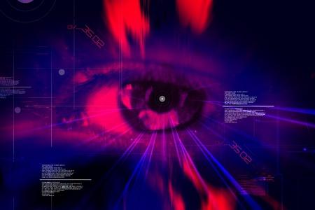 Digital illustration of an eye scan as concept for secure digital identity illustration