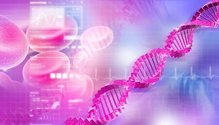 life science: Digital illustration of DNA in abstract background  Stock Photo