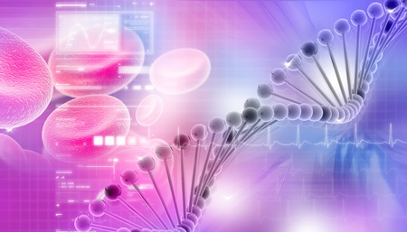 adenine: Digital illustration of DNA in abstract background  Stock Photo