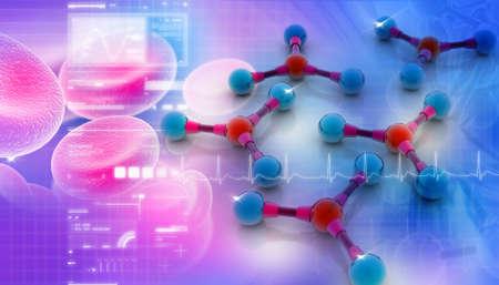 Digital illustration of molecules in abstract background Stock Illustration - 8948060