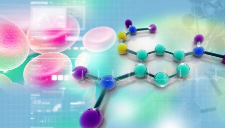 science chemistry: Digital illustration of molecules in abstract background  Stock Photo