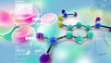 Ilustración digital de moléculas en segundo plano abstracto