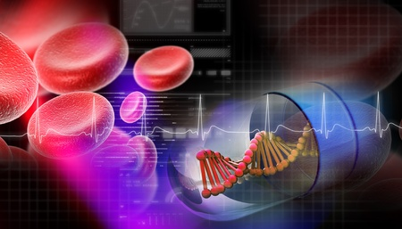 the strand: Dna capsule in abstract background  Stock Photo
