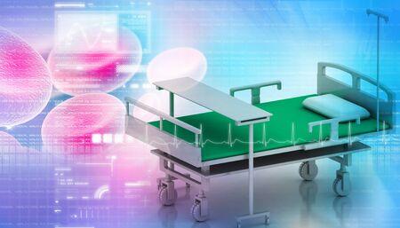 Digital illustration of hospital bed in abstract color background illustration