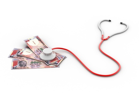 Financial concept - Stethoscope testing Indian money  photo