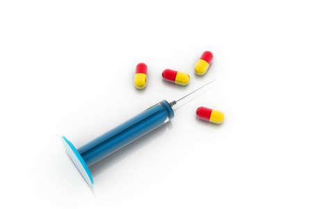 inject: Medicine and syringe