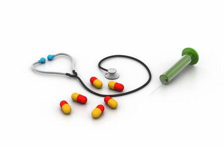 flu shot: 3d rendering stethoscope, syringe and pills
