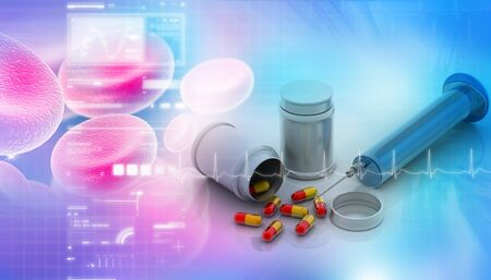 pharmaceutical: Capsule with syringe in digital design Stock Photo
