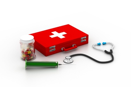 First aid box with medicine photo