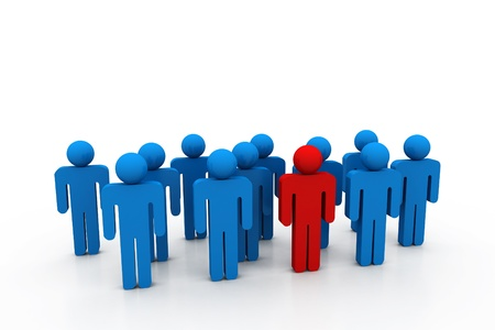 standing in line: Social network people with leader