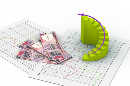 indian money: Business chart Stock Photo