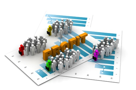Business people with profit chart Stock Photo - 8959903