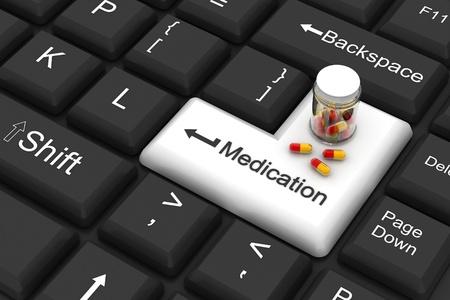 pharmacy: medication enter key  Stock Photo