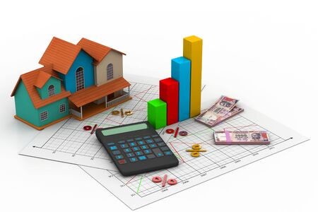 global investing: Sale house and calculator  Stock Photo