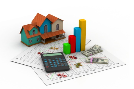 Sale house and calculator  Stock Photo