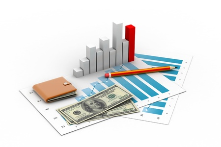 business graph, chart with money photo