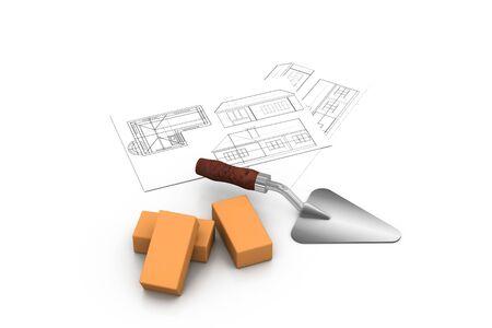 bricklayer: Concepto de construcci�n  Foto de archivo