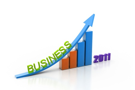 business growth of year in white background  photo