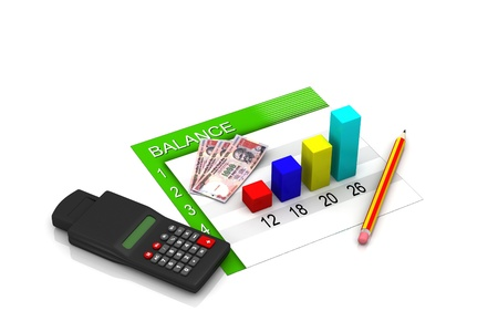 Financial graph, chart with money photo