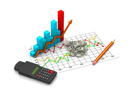 Financial graph with money photo