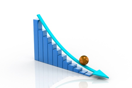 decrease: Graph showing decrease in profits Stock Photo