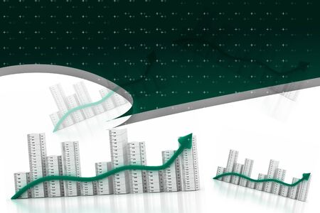 3d multi use business graph Stock Photo - 9144881