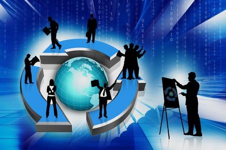 gestion empresarial: flecha multiuso 3D y equipo de negocios en segundo plano abstracto Foto de archivo